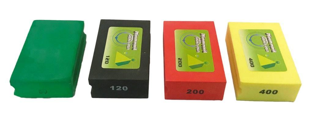 Diamond hand burnishing block set ( Green,Black,Red, Yellow )