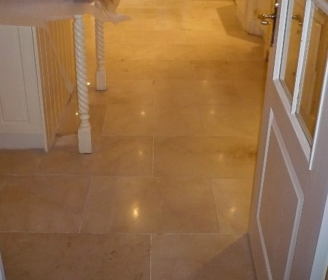 Polished Mable floor after cleaning and burnishing