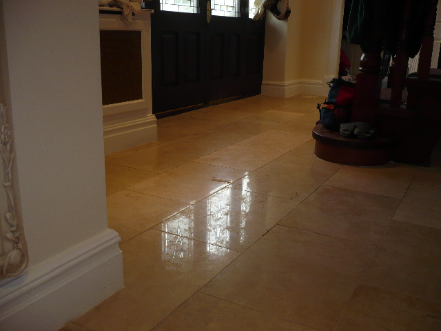 Polished Marble Floor before cleaning and burnishing