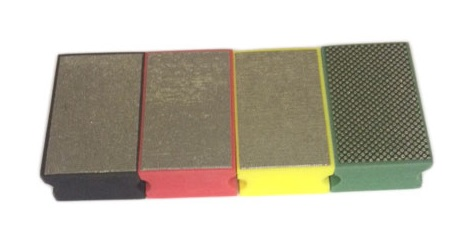 Set of four hand use burnishing blocks in 60, 100, 200 and 400 grit blocks