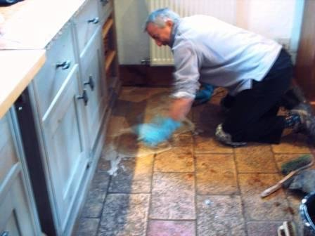 Tile Doctor at Work cleaning a kitchen floor