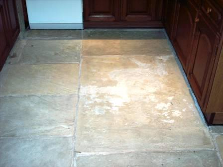 Sandstone floor before sealing