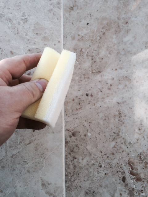 Step 2 - Wipe off the Pre-Treater,Grout joints must be clean, dry and free of existing sealers or coatings.