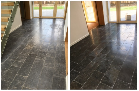 Black Limestone floor in Godalming cleaned and sealed