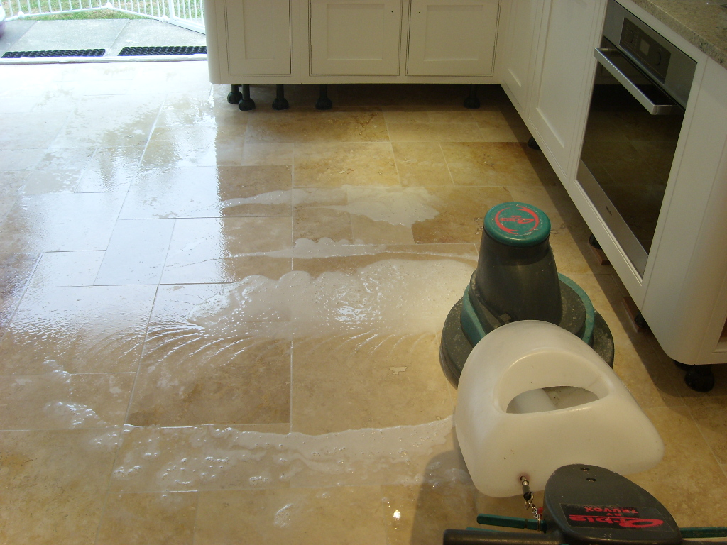 Cleaning Travertine Floor Tiles in Havant - photo courtesy of the Hampshire Tile Doctor