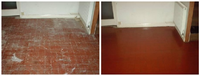 A Quarry Tile Floor splattered with paint and cement restored by Tile Doctor
