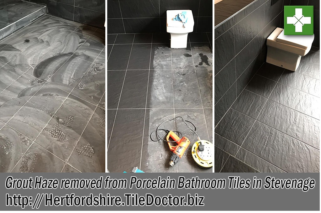 Grout Haze Removed from Black Porcelain Tiled Bathroom in Stevenage