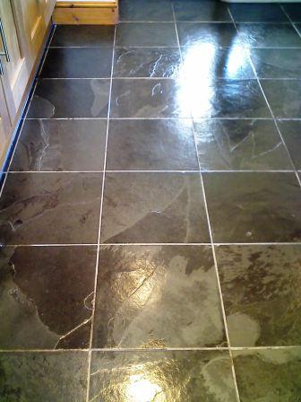 The same Brazilian riven Slate floor after being cleaned and sealed by Tile Doctor