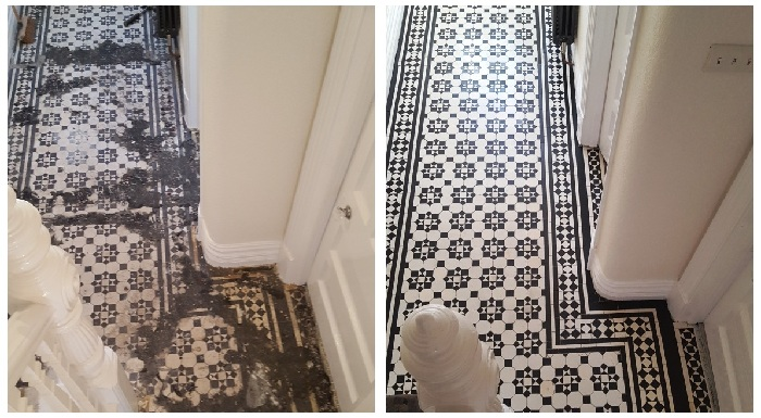 Victoria Tile Floor in Cheshire hidden under Carpet for Years, restored to its former glory by the South Wales Tile Doctor