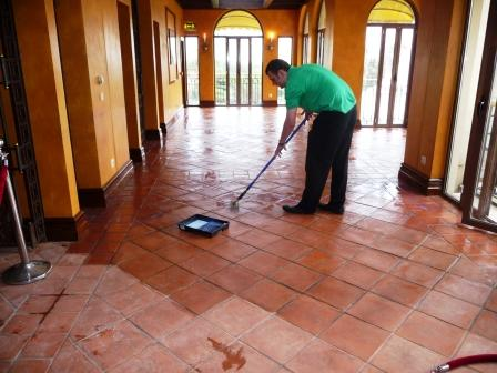 Terracotta Restaurant halfway through sealing with Tile Doctor Seal & Go